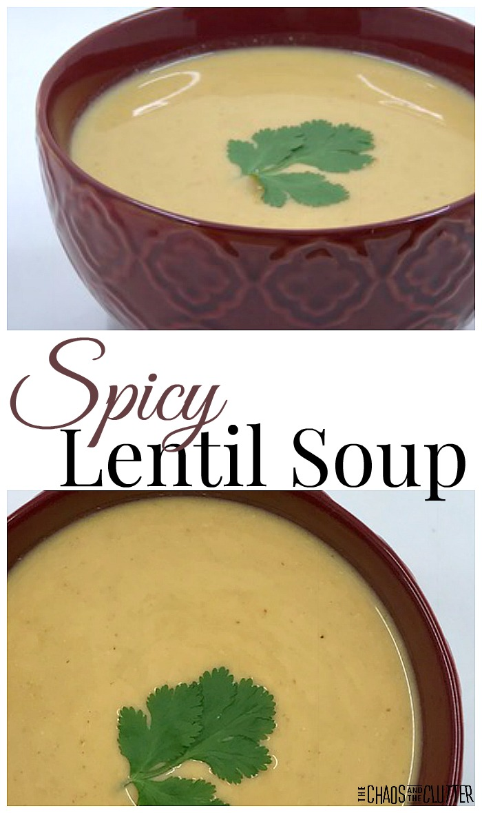 This spicy lentil soup is so delicious and especially hits the spot on a cold winter day.