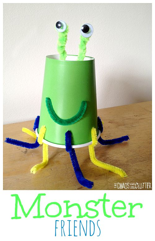 easy to make monster craft out of cups. These are so cute!
