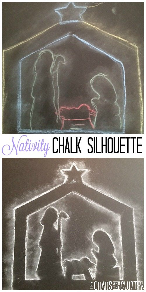 Nativity Chalk Silhouette Christmas Craft for Kids