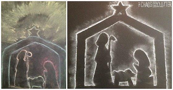 Nativity Chalk Silhouette