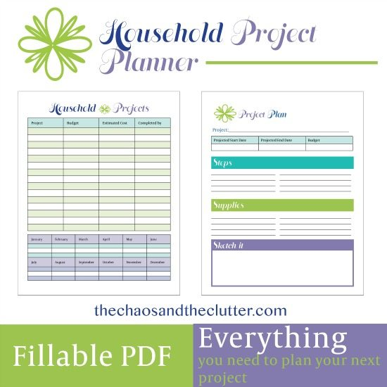 Household Project Planner printables