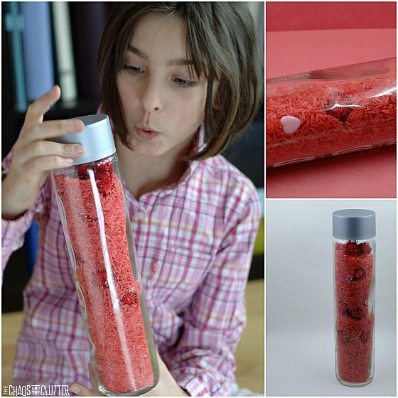 Valentines Sensory Bottle whose contents can be turned into a Valentines sensory bin.