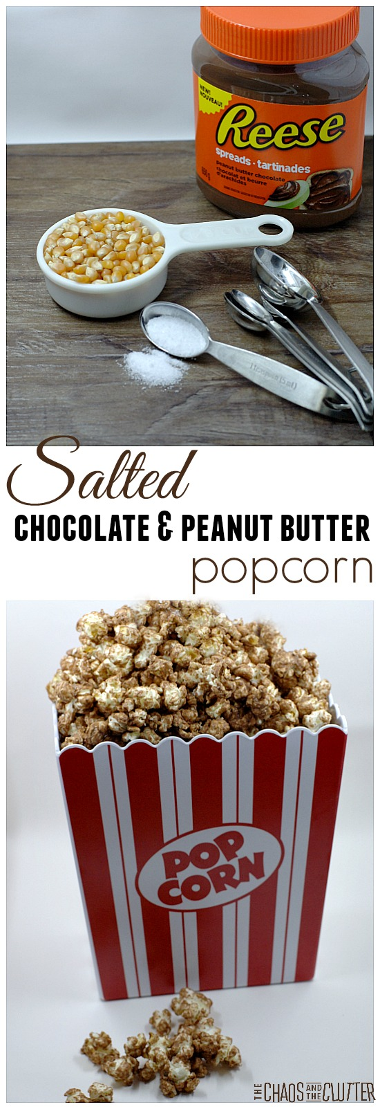 This salted chocolate and peanut butter popcorn is A-Mazing and only has 3 ingredients! (plus it's gluten free)