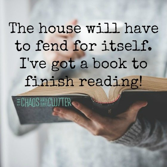 The house will have to fend for itself. I've got a book to finish reading!