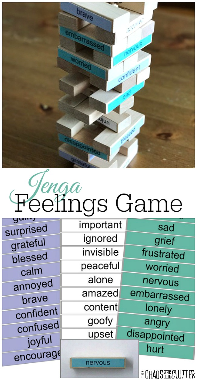 This Jenga Feelings Game is perfect for helping kids talk about their emotions and experiences.