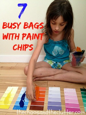 7 Busy Bags with Paint Chips that are easy and inexpensive to make