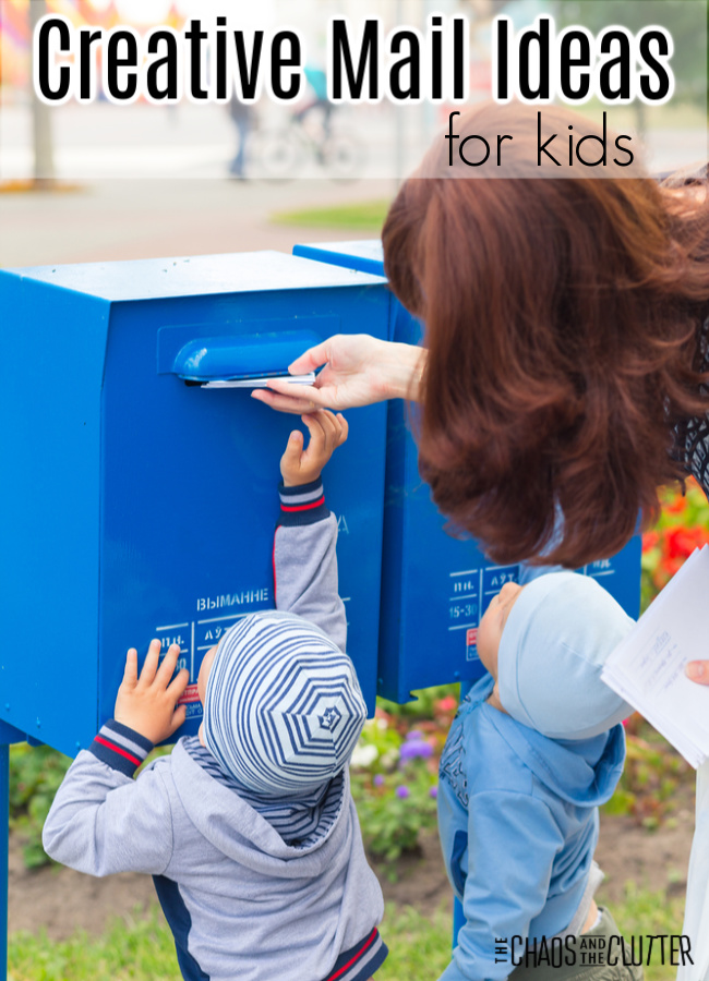 "a mother helps her two young boys mail a letter in a mailbox. Text reads ""Creative Mail Ideas for Kids"""