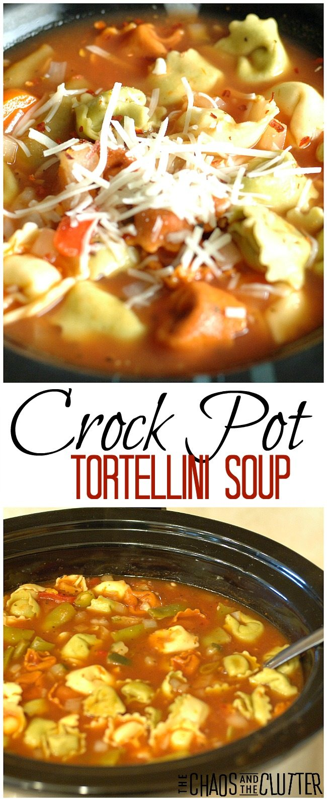 This hearty crock pot tortellini soup can also be made ahead as a freezer meal. #freezermeal #crockpotsoup #tortellinisoup #makeaheadmeals