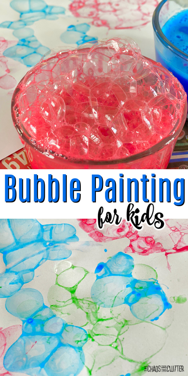 """bowl of red bubbles and in the background, paper with coloured bubbles. Text reads """"Bubble Painting for kids"""""""