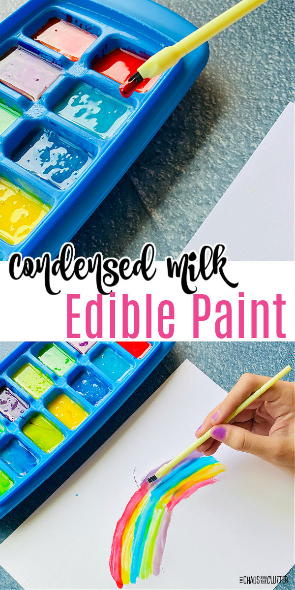 "yellow paintbrush dipped in red paint in ice cube tray as a rainbow is painted below. Text reads ""Condensed Milk Edible Paint"""