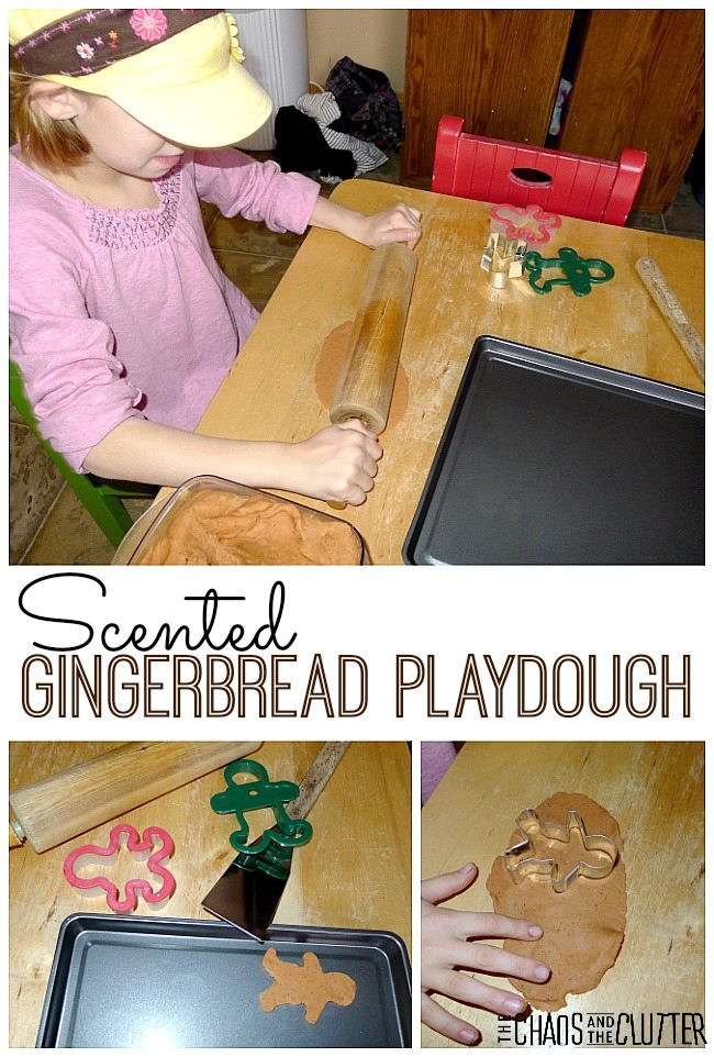 This scented gingerbread playdough smells just like gingerbread and makes such a fun Christmas sensory station.