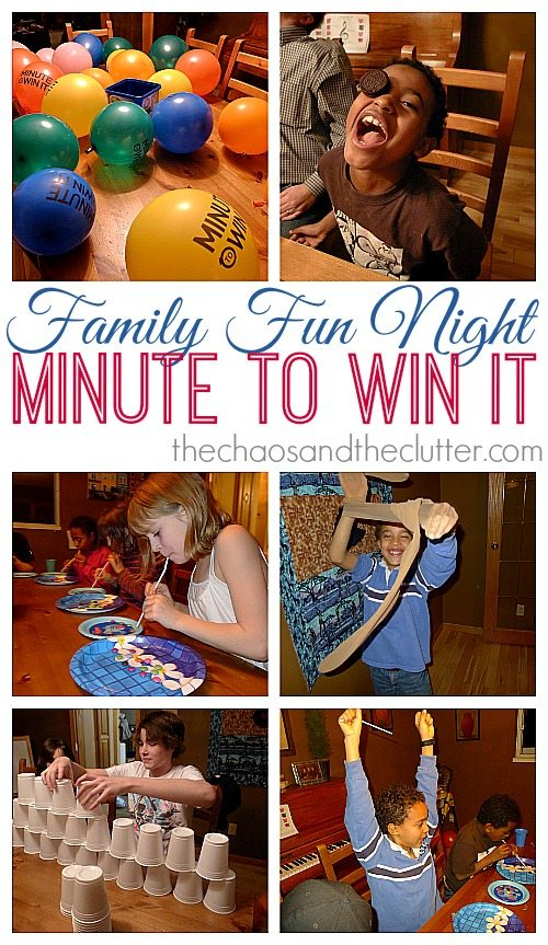 "A collage of 6 images with the words ""Family Fun Night Minute to Win It"" depicted on a white background in the middle. In the top left image, there are multicoloured balloons on a table. The photo beside shows a black boy with curly hair and his mouth in a wide open smile with an Oreo type cookie on one of his eyes. The next image is of a blonde girl transferring Smarties candies from one plate to another using a straw. The image beside that shows a boy in a blue shirt with his hands in a pair of beige panty hose. The image below shows a teen boy stacking many white plastic cups in a pyramid on a brown table. The last image is of a boy in a blue shirt with his arms raised up in the air in victory."