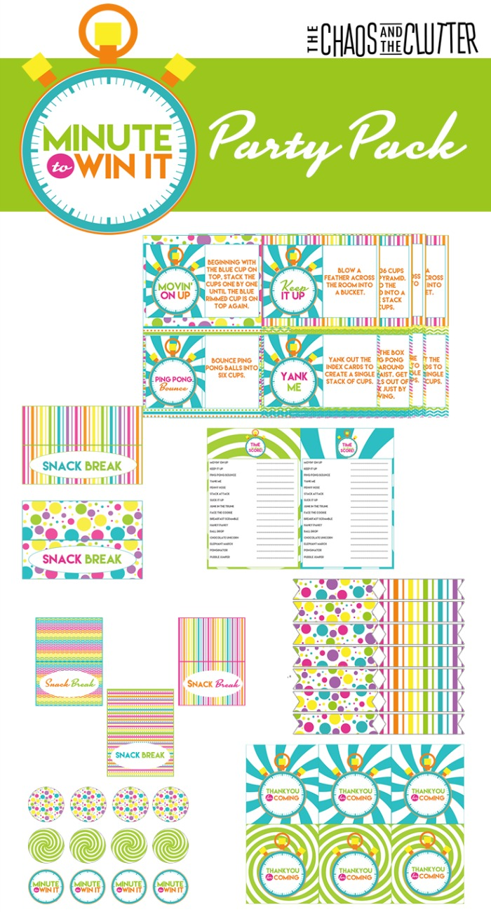 Minute to Win It Printable Decoration Pack in multiple colours