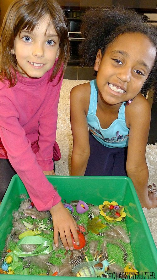 Simple Spring Sensory Bin for kids