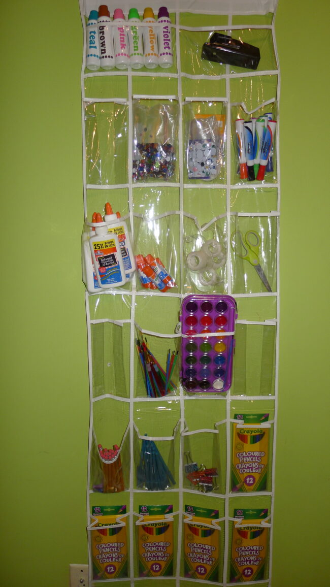 kids craft diy organizer using a shoe holder