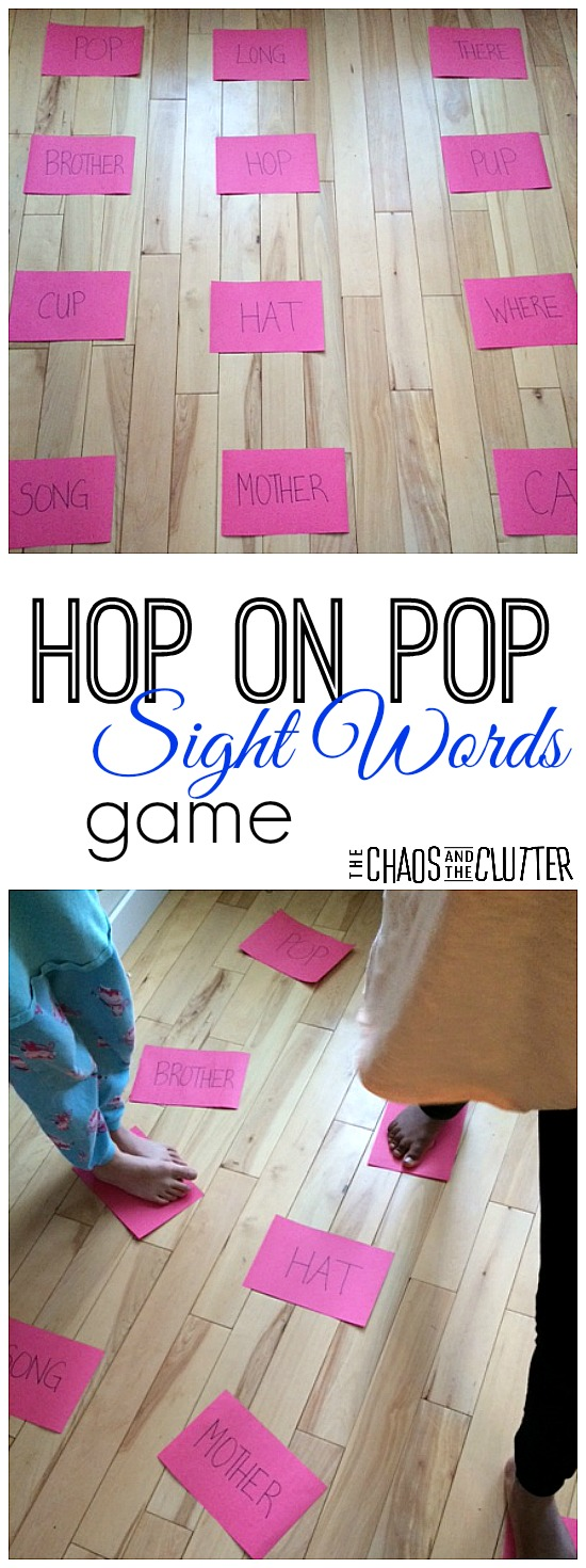 This Hop on Pop gross motor game is great for teaching sight words and rhyming.