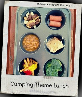 camping theme muffin tin lunch