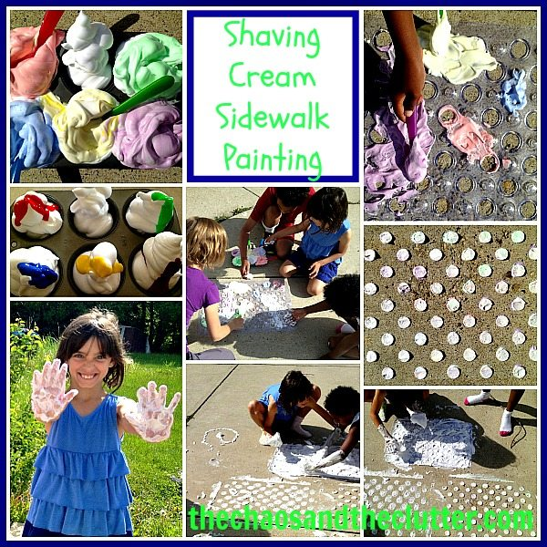 Shaving Cream Polka Dot Sidewalk Painting