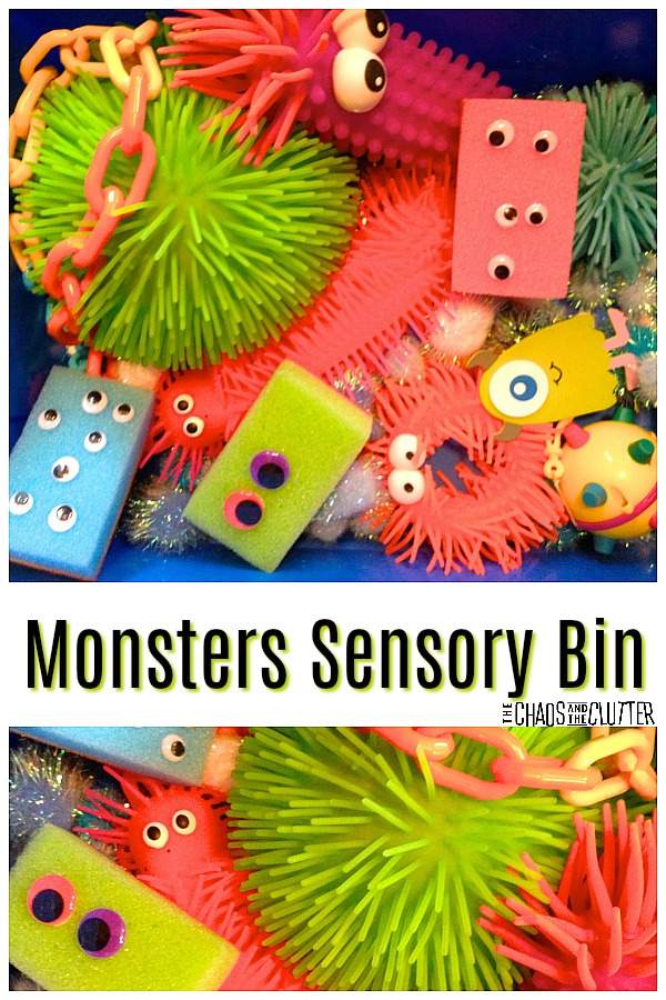 Monsters Sensory Bin with adorable googly eyed sponges #sensoryplay #sensorybins #sensorybin #kidsactivities #monsters