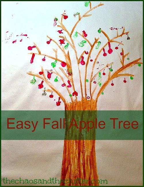 Easy Fall Apple Tree Print Painting