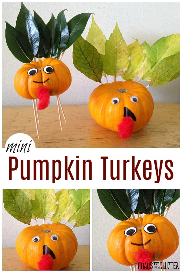 Mini Pumpkin Turkeys for Thanksgiving or Fall #kidsactivities #thanksgiving