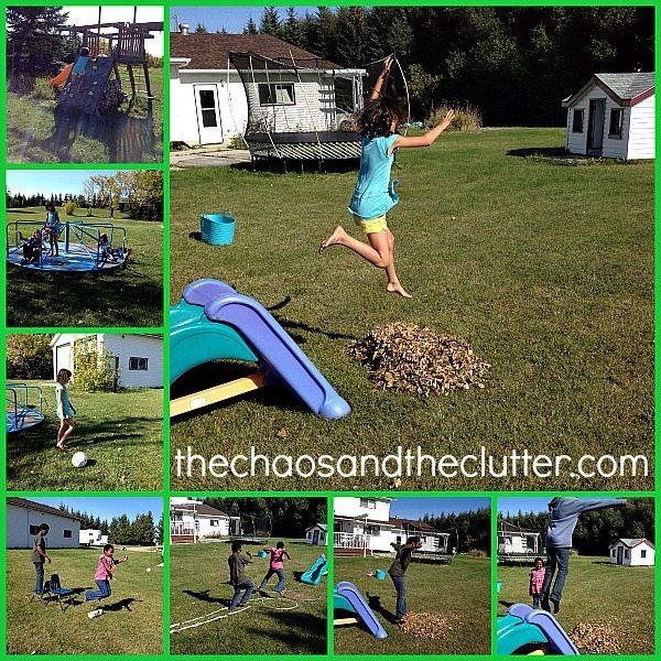 enjoying a backyard obstacle course
