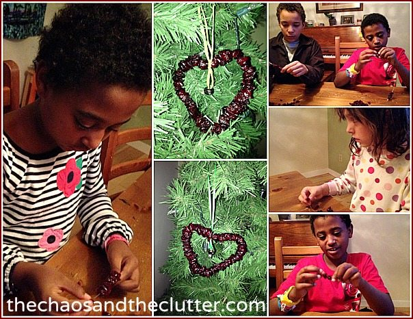 assembling cranberry ornaments at The Chaos and The Clutter