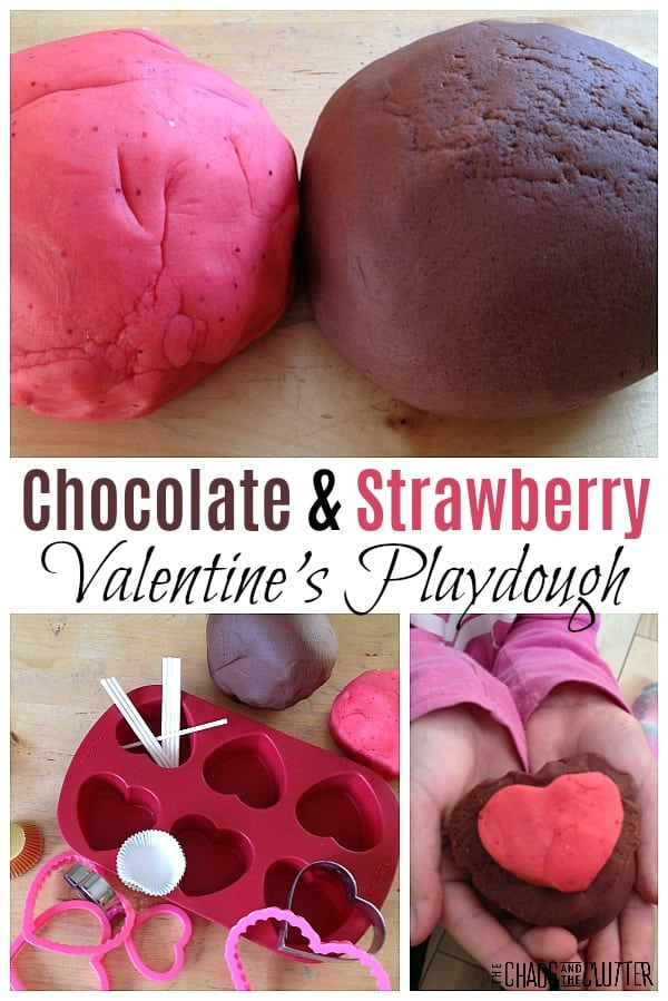 Strawberry and Chocolate Playdough Valentines invitation to play #sensoryplay #chocolateplaydough #playdoughinvitationtoplay #playdough