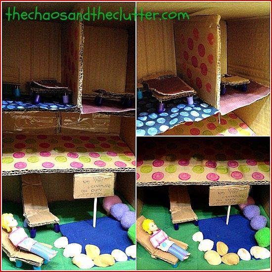 mini play house from a cardboard box
