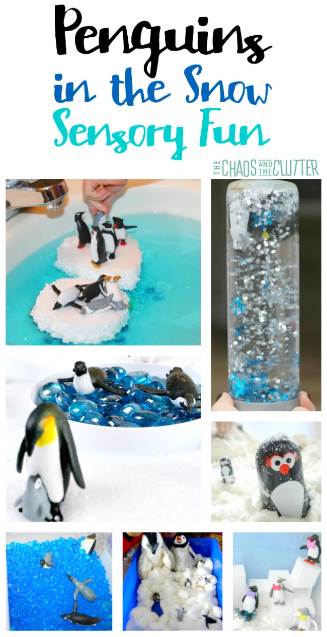 Penguins in the Snow Sensory Fun for kids