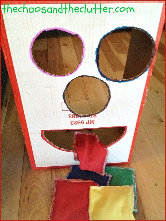 simple bean bag toss with a cardboard box