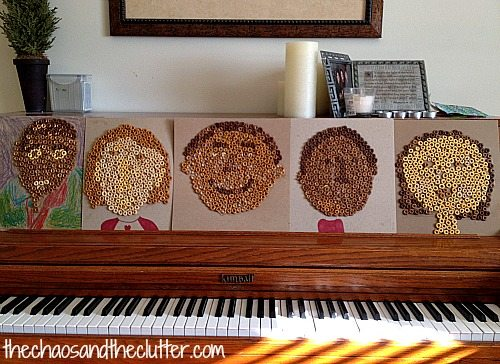 Cheerios art self portraits