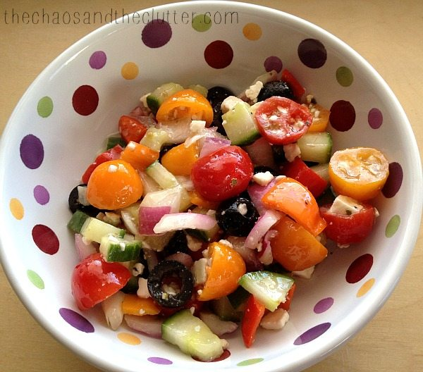 Delicious Greek Salad with homemade dressing