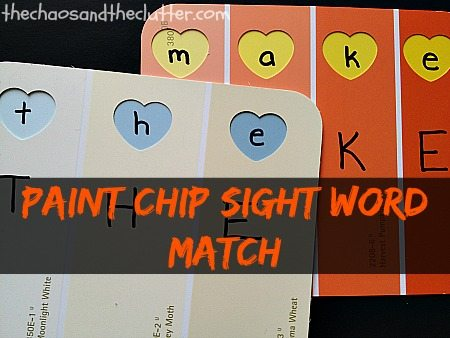 Paint Chip Sight Word Match