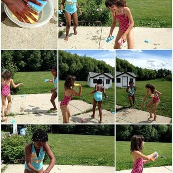 sensory water fight with sponges