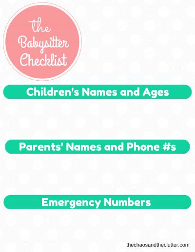 the Babysitter Checklist