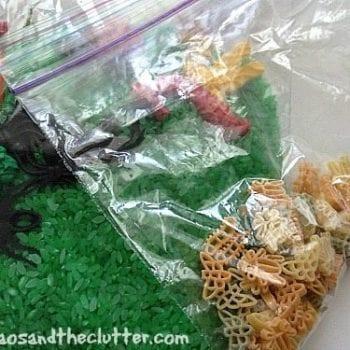 bug sensory bin in a bag