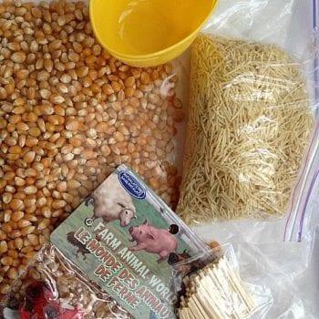 farm sensory bin in a bag