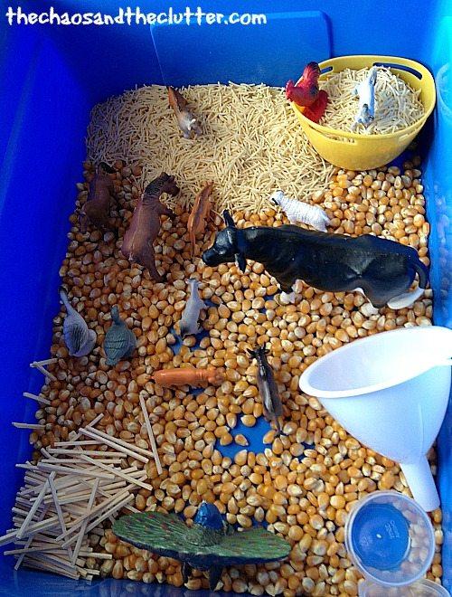 farm theme sensory bin
