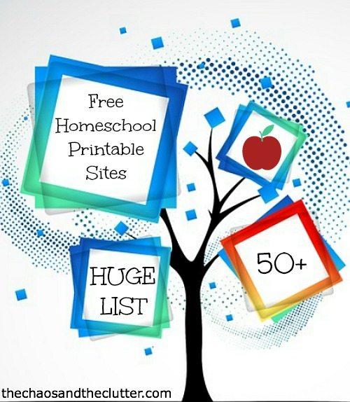 Huge List Of Free Homeschool Printables