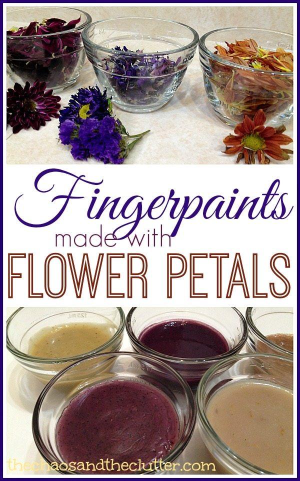 Fingerpaints made with Flower Petals