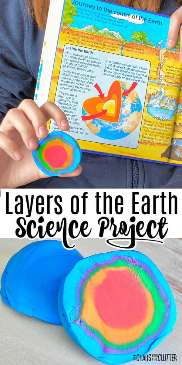 "3D model made with modelling clay. Text reads ""Layers of the Earth Science Project"""