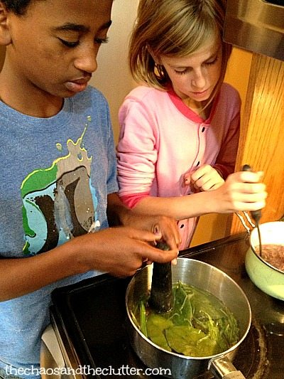 making paint from leaves and stems