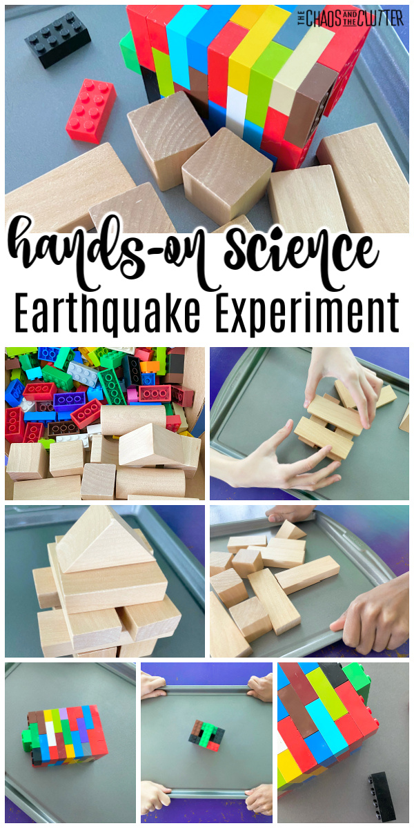"lego bricks and wooden blocks on a cookie tray. Text reads ""hands-on science Earthquake Experiment"""