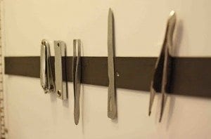 magnetic strip in the bathroom