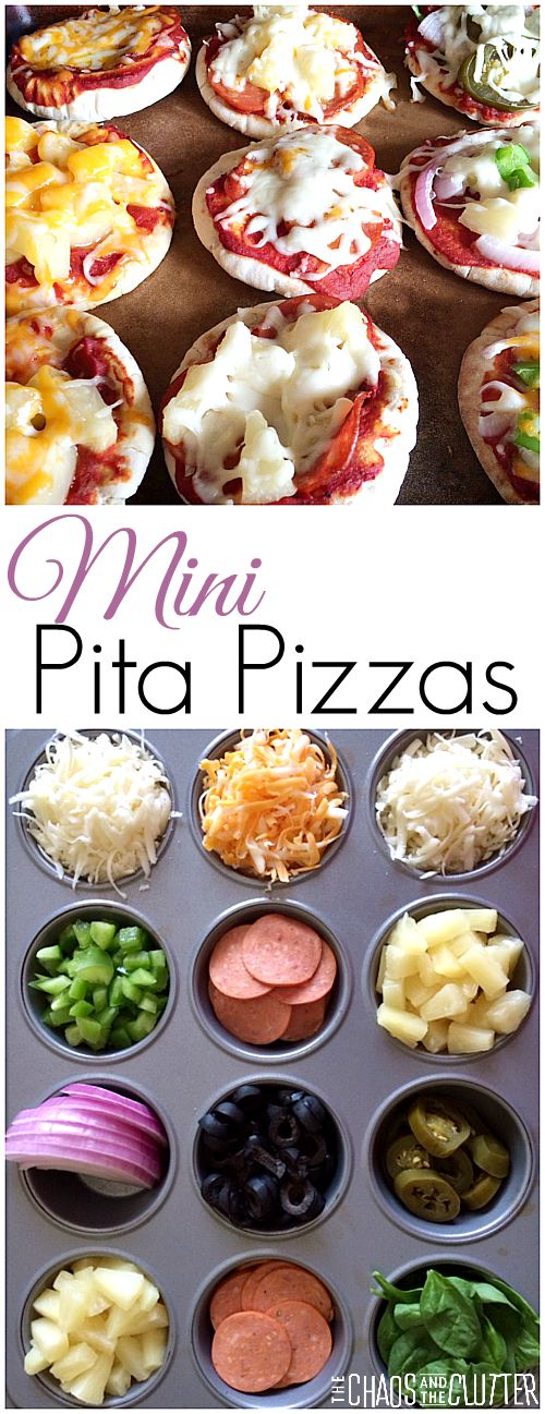 Mini Pita Pizzas - kids can assemble their own. Makes a great easy lunch or a fun birthday party meal.