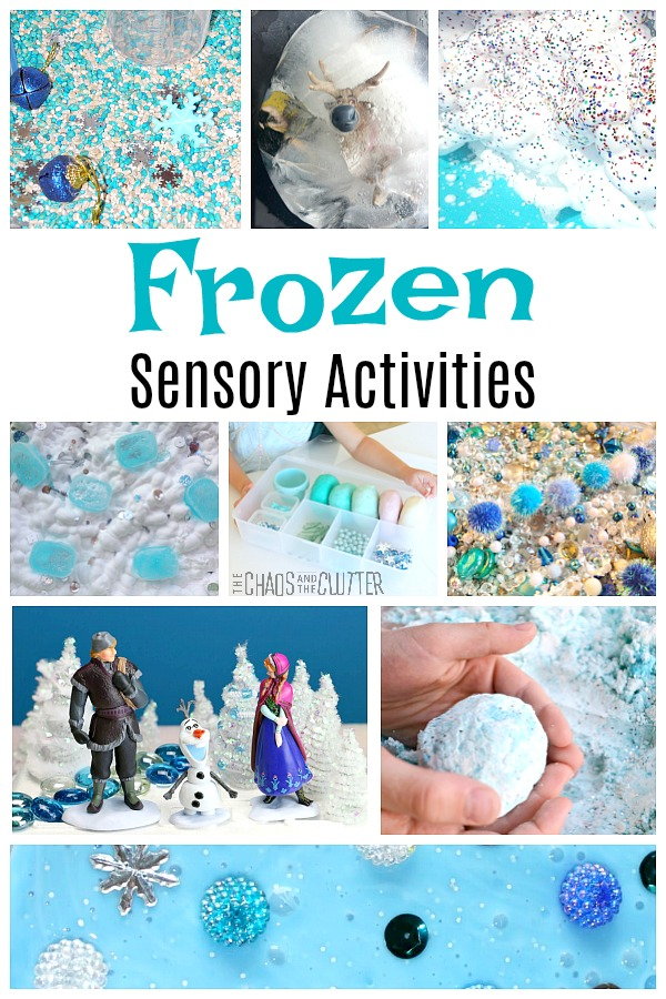 "a collage of kids' play ideas based on the movie with text that reads ""Frozen Sensory Activities"""
