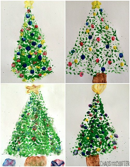 Christmas Trees Painted with Dish Brushes