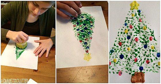 Dish Brush Christmas Tree with Fingerprint Ornaments