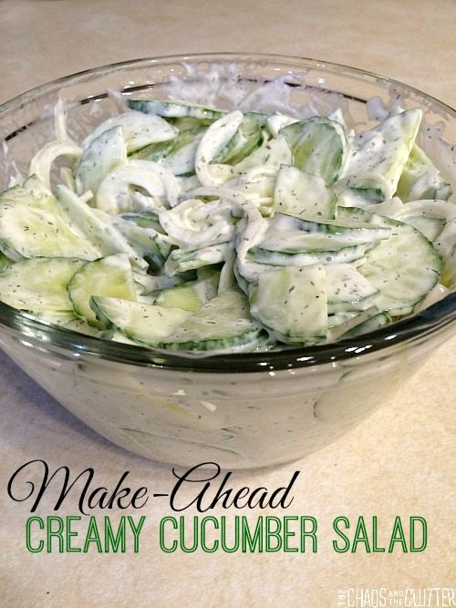 Make-Ahead Creamy Cucumber Salad...perfect for bringing to potlucks!